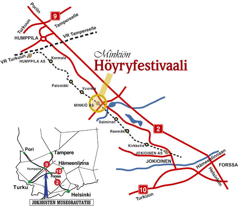 Map of the Jokioinen Museum Railway